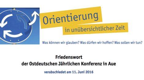 Friedenswort der Ostdeutschen Jährlichen Konferenz