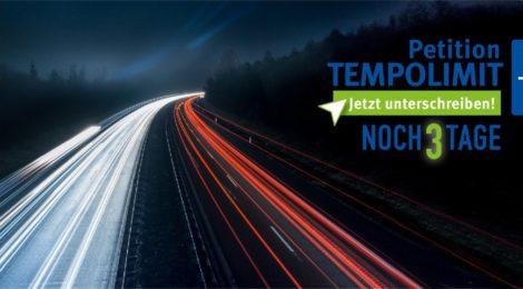 Nur noch drei Tage: öffentliche Petition Tempolimit von 130 km/h auf Autobahnen